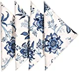 """Cloth Napkins Table Linens Dinner Napkins 18""""x18"""" Off White and Blue Cotton Floral Fabric Set of 4"""
