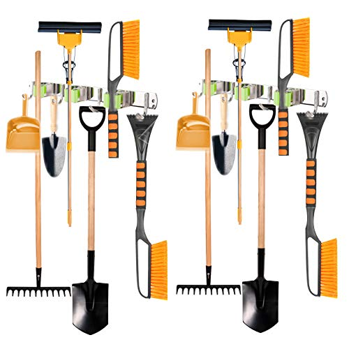 Mop and Broom Holder Wall Mount,Broom and Mop Holder Wall Mounted Stainless Steel 304 Kitchen Cleaning Tools Storage Green Color 2 Packs