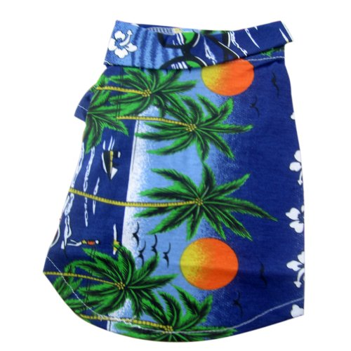 Tangpan Hawaiian Beach Coconut Tree Print Dog Shirt Summer Camp Shirt Clothes (Blue, L-16#)