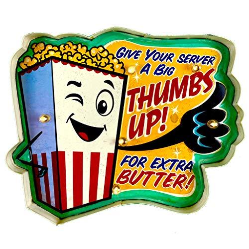 DiiliHiiri Plaque rétro lumineuse pour bar, restaurant, café, style vintage, plaque métallique pour artisanat, accessoires de décoration pour maison des années 50 (Popcorn, Thumbs Up!)
