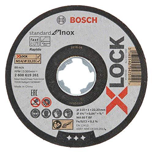 Bosch Professional Standard - 10 discos de corte recto (para inoxidable, X-LOCK, Ø115 mm, diámetro del orificio, 22,23 mm, grosor,1 mm)