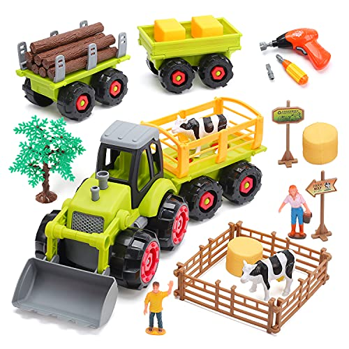 CUTE STONE Farm Toy Tractor, Take Apart Toys W/ Electric Drill, Play Farm Toy Set with Farm Vehicle Toy Truck W/ Trailers, Farm Animal Figures, Storage Box, STEAM Learning Toy for Kids Toddlers