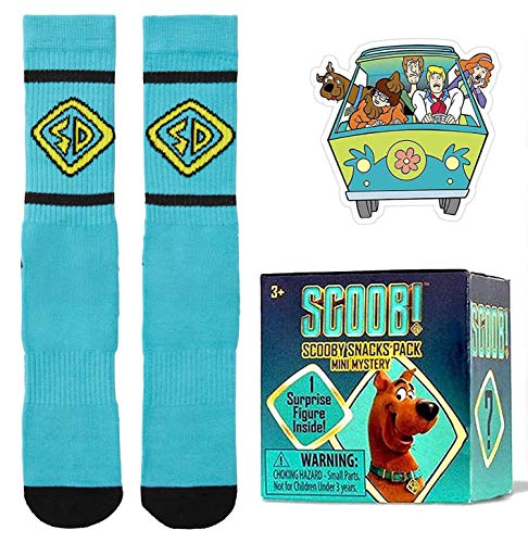 Run Scoob are You Mini Figure Blind Box Movie Character Snacks Bundled with Scooby Friends Mystery Machine Decal Sticker & Crew Socks Zoinks! 3 Items
