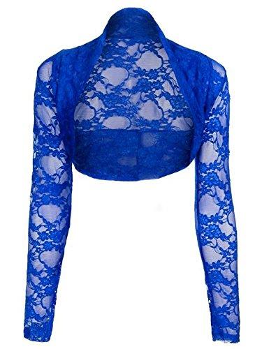 Bolero di pizzo da donna taglie forti a maniche lunghe, taglie dalla 14–28 Blu Royal