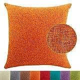 DimaiGlobal Funda de Cojín Algodón de Lino de Color sólido Square Decorativos Felpa Throw Funda de Almohada para Hogar Dormitorio Sofá Coche Cama Fundas de Cojines Naranja 50X50CM