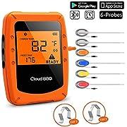 UBaymax Digitales Grillthermometer Bluetooth, Funk Wireless BBQ Steak Thermometer mit 6 Sonden, Bratenthermometer, Fleischthermometer, Unterstützt IOS, Android für Küche, Grill, Backen