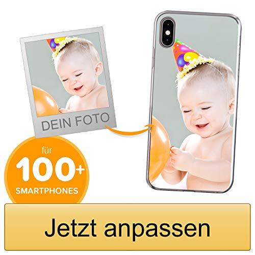 Coverpersonalizzate.it Handyhülle für Apple iPhone XS Max mit Foto-, Bildern- oder Text selbst gestalten- Die Handyhülle ist aus weichem transparentem TPU-Silikon-Gel Material
