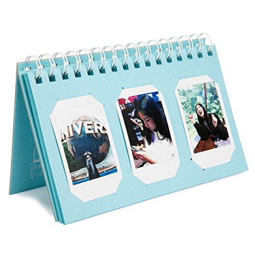 Woodmin 60 Pockets Calendar Photo Album for Fujifilm Instax Mini 8 8+ 9 70 90 7s/Pringo 231/SP 1/Polaroid PIC-300P/Polaroid Z2300 Film (Ice Blue)