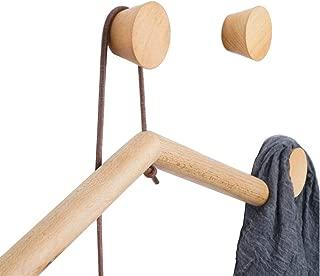 YOYAI 3 Pcs Natural Wooden Coat Hooks Wall Mounted Wood Hooks Hat Hanger Towel Rack Decorative Single Organizer Heavy Duty(Round Beech Wood 3 pcs)