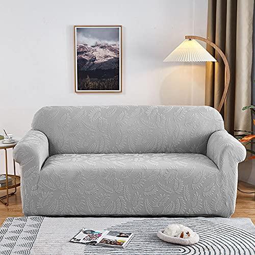 Funda elástica para sofá Impreso Gris-Plata 3 Plaza Protector de Funda de sofá para sillón / sofá Antideslizante Regalar Mismo patrón 1 Funda de Almohada Gratis (195-230cm)