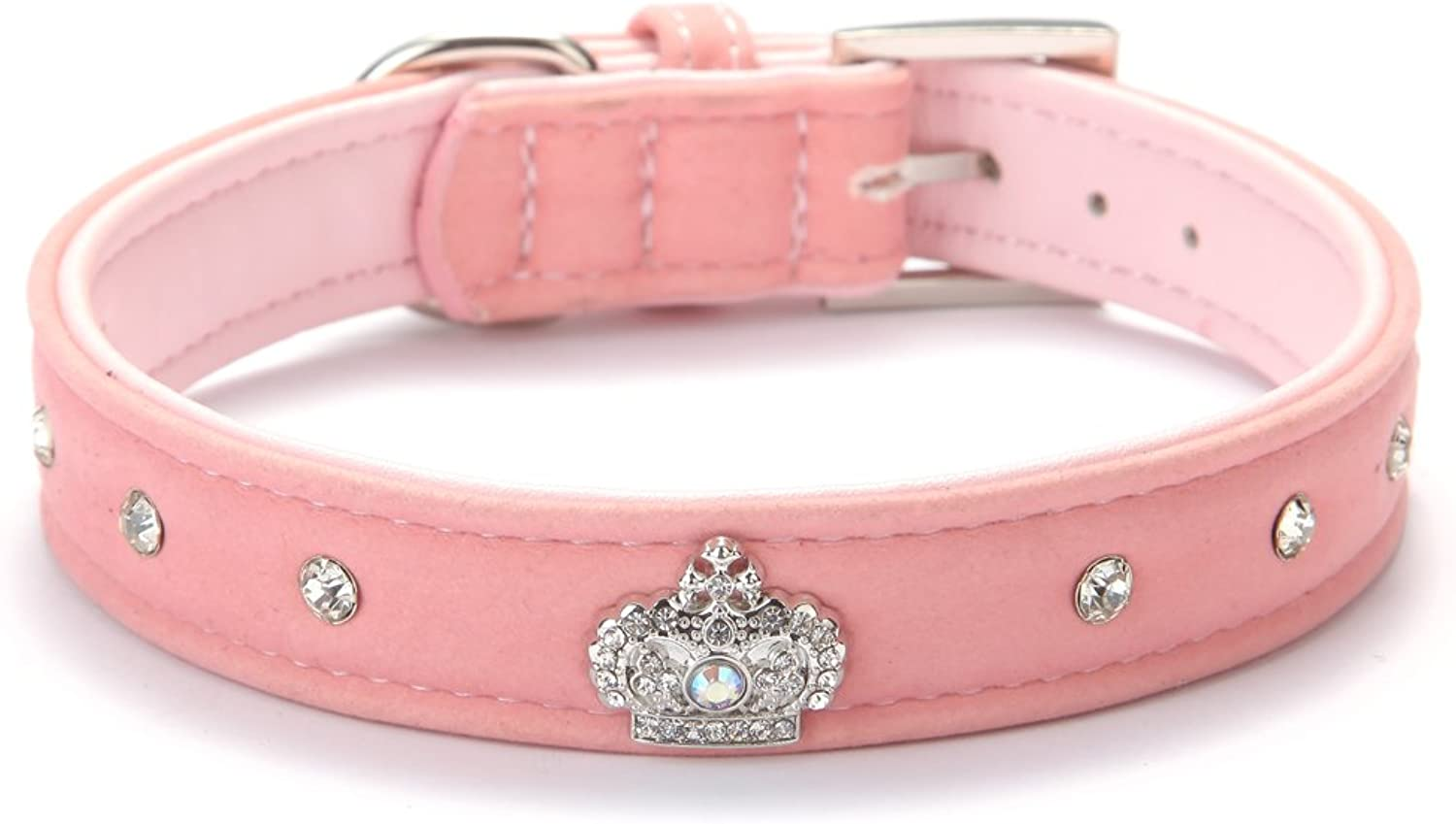 BINGPET BA2022X Cute Designer Rhinestone Dog Collars with Diamond Crown for Puppy Pet  Pink Small