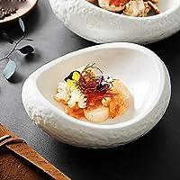 ヨーロピアンスタイル不規則なセラミック食器ボウル麺ボウルプレートステーキサラダスナックケーキ食器断熱,L