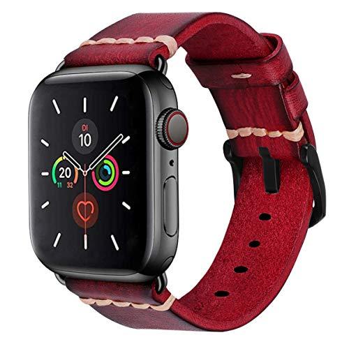 MroTech Cinturino di Ricambio Compatibile con iWatch 42 mm e 44 mm Serie 5 4 3 2 1 Watch Band Cinturini 42mm 44mm Pelle Cuoio per Uomo Donna Cinghie Sostituzione Bracciale da Polso Rosso Scuro Antico