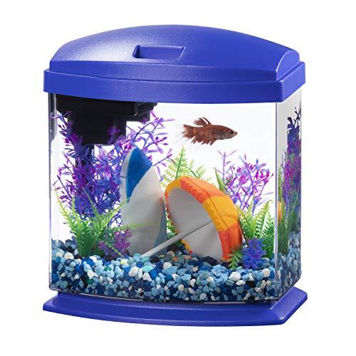 Aqueon LED MiniBow Aquarium Kit with SmartClean Technology, Blue, 1 Gallon
