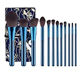 HAOYOUJIA Makeup Brushes 12Pcs Professional Complete Collection, Synthetic Hair, Powder Blending Foundation Highlight Contour Concealer Eyeshadow Eye Liner Spoolie with Makeup Bag