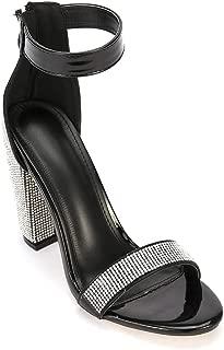 ARIES Womens Ankle Strap Chunky Block High Heel Sandals Cute high Heels