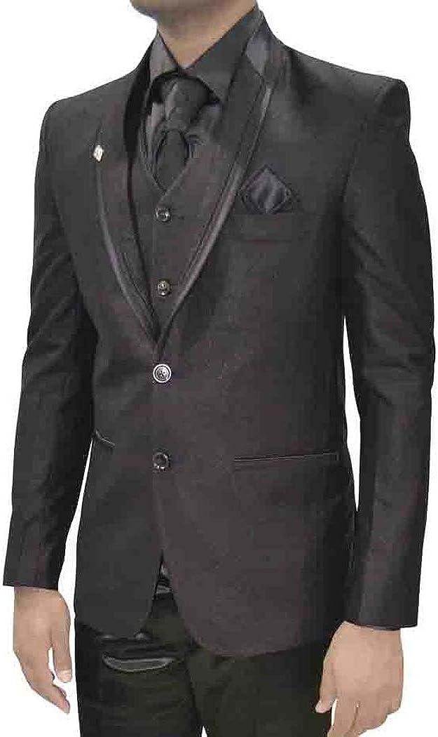 INMONARCH Mens Dark Gray Two Button 7 Pc Tuxedo Suit TX5012XL48 48 X-Long Dark-Gray