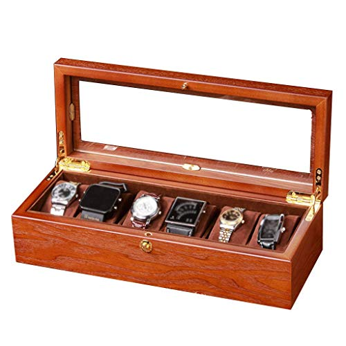 Watch Box 6 Jewelry Organizer Wooden Watch Display Case with Glass Top and 6 Removal Storage Pillows,Metal Clasp