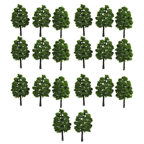 WINOMO 20Pcs 9Cm Modell Baum Zug Bäume Eisenbahn Landschaft Landschaft Zug Eisenbahnen Diorama Baum Architektur Bäume für DIY Landschaft Landschaft Natürliches Grün (Dunkelgrün)