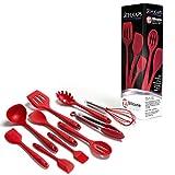 Schukaps Set de 10 Utensilios de Cocina de Silicona Antiadherente - Espatulas Resistentes al Calor - Facil de Limpiar Color Rojo Home |