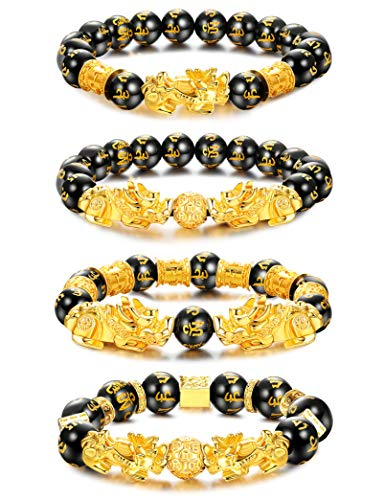 Milacolato 4 Stück Feng Shui Pixiu Viel Glück Armbänder für Männer Frauen Mantra Amulett Perlen Armbänder Pi Yao Perlen Armbänder mit Vergoldeten