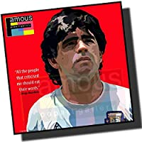 ディエゴ・マラドーナ アルゼンチン代表 海外サッカーアートパネル 木製 壁掛け ポスター (26*26cm アートパネルのみ)