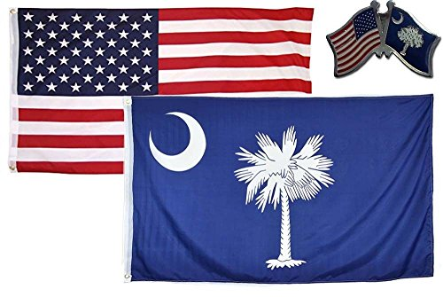 MWS Wholesale Combo USA & State of South Carolina 2x3 2'x3' Flag & Lapel Pin