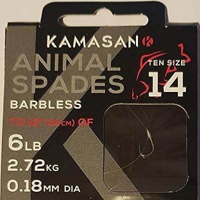 Kamasan Animal Barbless Spade Fishing Hooks To Nylon Size 14 Coarse Carp Tackle