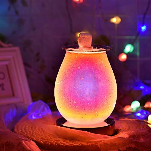 UNISOPH Elektrischer Wachsbrenner, Glas, 3D-Aromalampe, Feuerwerk-Effekt mit Touch-Nachtlicht, Ölbrenner für Zuhause, Büro, Schlafzimmer (Wassertropfen)