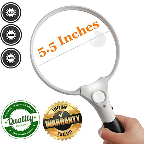 5.5 Inch Jumbo Reading Magnifying Glass with 3 LED Light for Seniors