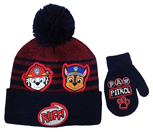 Nickelodeon Toddler Boys Paw Patrol knit Winter Beanie Hat with Pompom and Matching mitten set [4014]