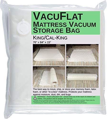 VacuFlat Vakuumbeutel für Matratzen (King/Cal-King) – Vakuum-Packung Schaumstoff & Hybrid-Matratzen für Umzug, Versand & Lagerung