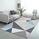 DPJS Rug Tapis Polyester Poudre Bleu Brun Multicolore Triangle Mosaïque Salon Chambre Cuisine Chevet Pad,150x200cm