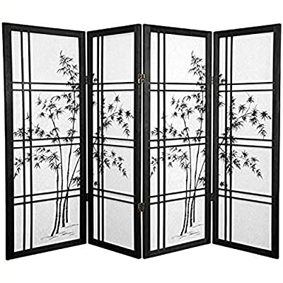 ORIENTAL FURNITURE Unique Short Size Fireplace Screen - 4ft. Tall Double Cross Bamboo Tree Art Print Shoji Room Divider - 3 Sizes - 4 Colors