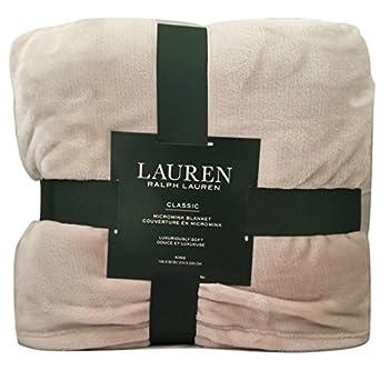 Lauren by Ralph Lauren Classic Micromink  Microfiber  Blanket/Throw - Taupe/Light Gray  King