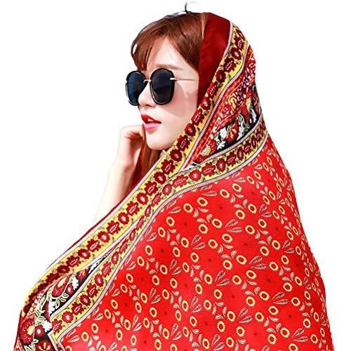 Wination Bufanda suave de gran tamaño para mujer, estilo bohemio, para playa, protección solar