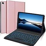 IVEOPPE Funda con Teclado para Samsung Galaxy Tab A7 2020 10.4'', Teclado Bluetooth Retroiluminada Español Ñ para Samsung Galaxy Tab A7 T505/T500/T507, Funda Protectora para Tableta(Oro Rosa)