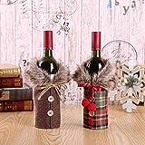 BOODON Navidad Funda para Botella de Vino, 2pz Cubierta Botella Bolsas Botella Vino Rojo Navidad para Decoración Hogar de la Mesa de Cena para...