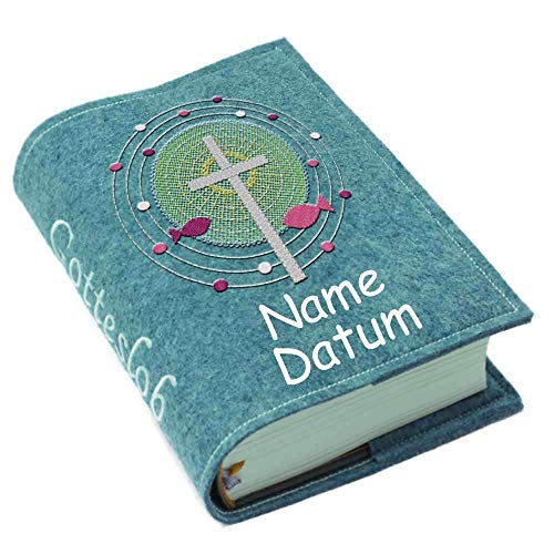 Gotteslob Gotteslobhülle Hülle Kreuz Fische Punkte pink Filz Namen bestickt Einband Umschlag personalisierte Gesangbuchhülle, Farbe:petrol meliert