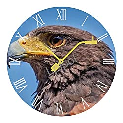 Lplpol Record Wall Clock Harris Hawk Round Easy to Read Home/Office/Classroom/School Clock