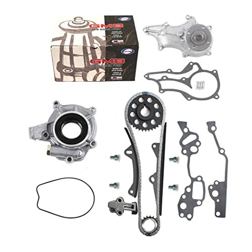 New Timing Chain Kit (2 Heavy Duty Metal Guide Rails & Bolts), Water Pump, & Oil Pump compatible with Toyota 2.4L Pickup 22RE 22REC 85-95
