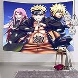 3354 Anime Na-ru-to - Tapiz para colgar en la pared, diseño de tres tapices suaves y divertidos para dormitorio de 188 x 222,5 cm
