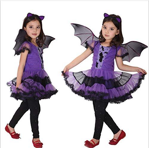 ZXYSHOP Disfraz De Halloween Niña 2-15 Años De Edad, Vestido Y Sombrero De Bruja Disfraz,100CM