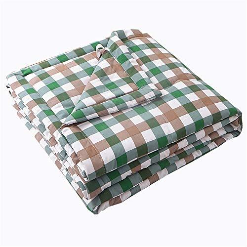 Colcha acolchada reversible, colcha de decoración de celosía, ultra suave acolchado (rejilla verde, 200 x 230 cm)