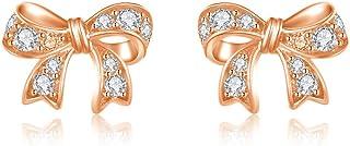 Italina Women's Earrings Stud Bow Shaped Earrings Cubic Zirconia Round Cut Jewelry Earrings for Women Girls Fashion