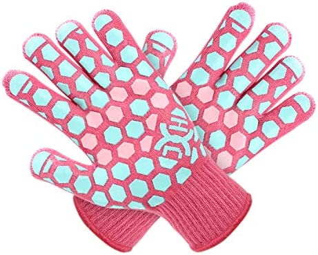 JH Heat Resistant BBQ Glove EN407 Certified 932 F 2 Layers Silicone Coating Coral Shell with product image