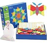 Pywee Holzmuster blockiert Montessori-Lernspielzeug mit 130 Stück geometrischen Formen und 24 Designkarten für Kinder