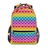 Shoulder Bag,Rainbow Mer-Maid Scales College School Book Bag Gym Travel Bag 40cm(H) x29cm(W)
