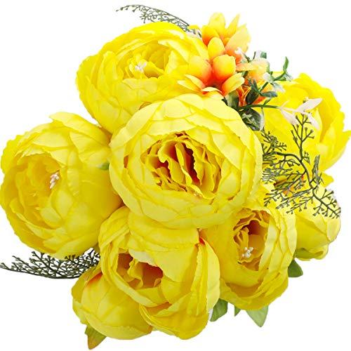 Veryhome Vintage Artificial Peony Seda Flores Ramos de Flores Decoración de la Boda Mesa de Hogar Cocina Oficina Jardín Plantas de Novia (Amarillo)