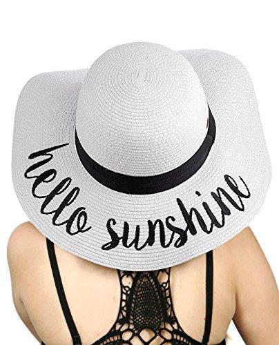 C.C Women's Paper Weaved Crushable Beach Embroidered Quote Floppy Brim Sun Hat, Hello Sunshine in White